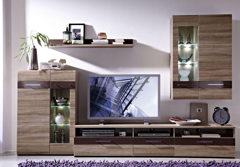 wohnwand sonoma eiche dunkel g nstig kaufen. Black Bedroom Furniture Sets. Home Design Ideas