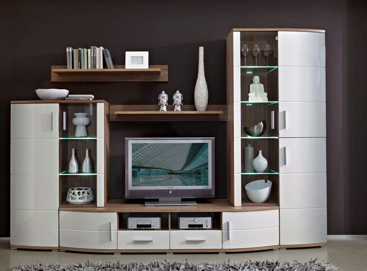 yanni wohnwand sonoma eiche dunkel wei hochglanz. Black Bedroom Furniture Sets. Home Design Ideas