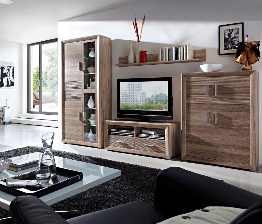 torero wohnwand ii san remo eiche geriffelt. Black Bedroom Furniture Sets. Home Design Ideas