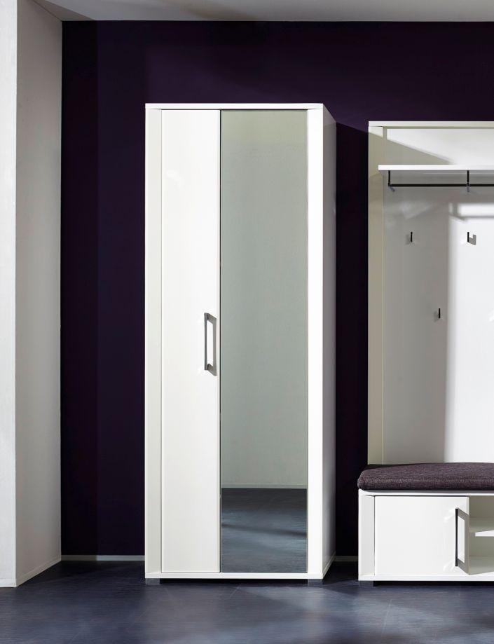 Grande dielenschrank garderobenschrank wei hochglanz - Garderobenschrank mit spiegel ...