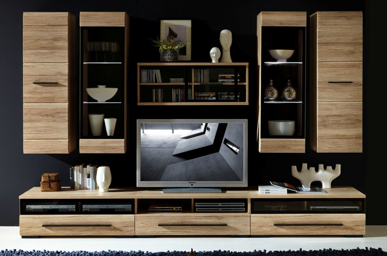 wohnwand mit schiebet ren g nstig kaufen. Black Bedroom Furniture Sets. Home Design Ideas