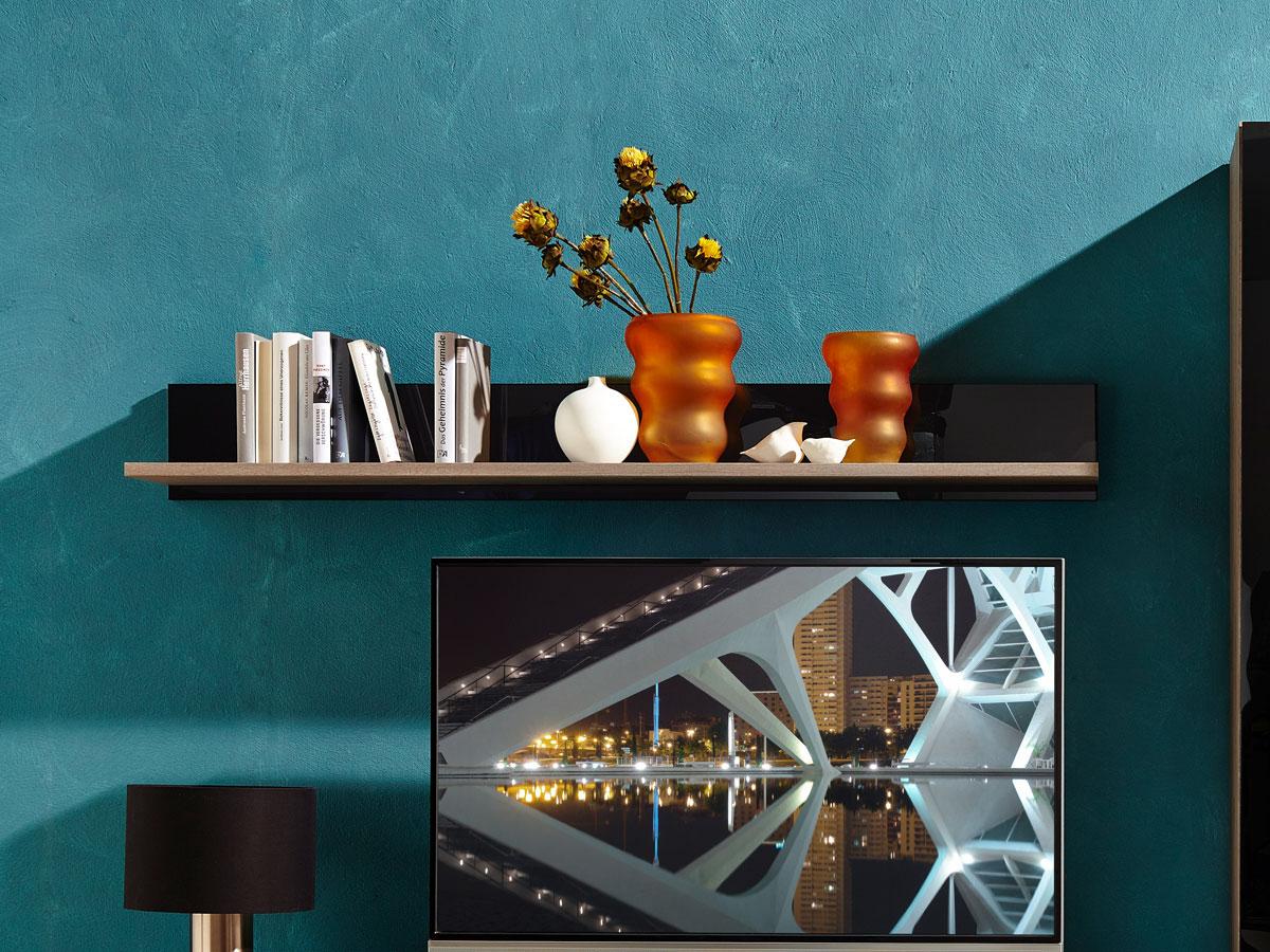 Möbel-Eins BLACK Wandregal mit Boden Silbereiche / Schwarzglas