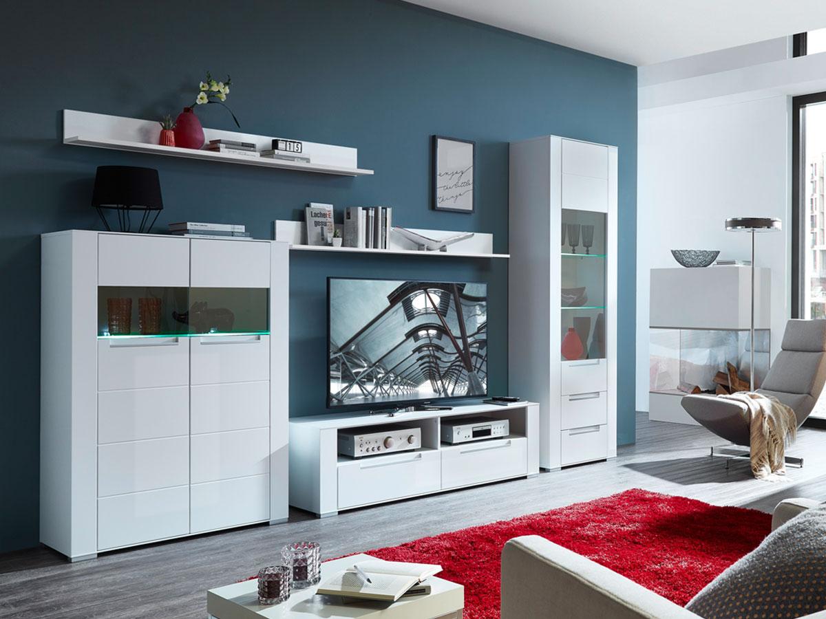 diamo wohnwand mit parsolglas bronze weiss matt. Black Bedroom Furniture Sets. Home Design Ideas
