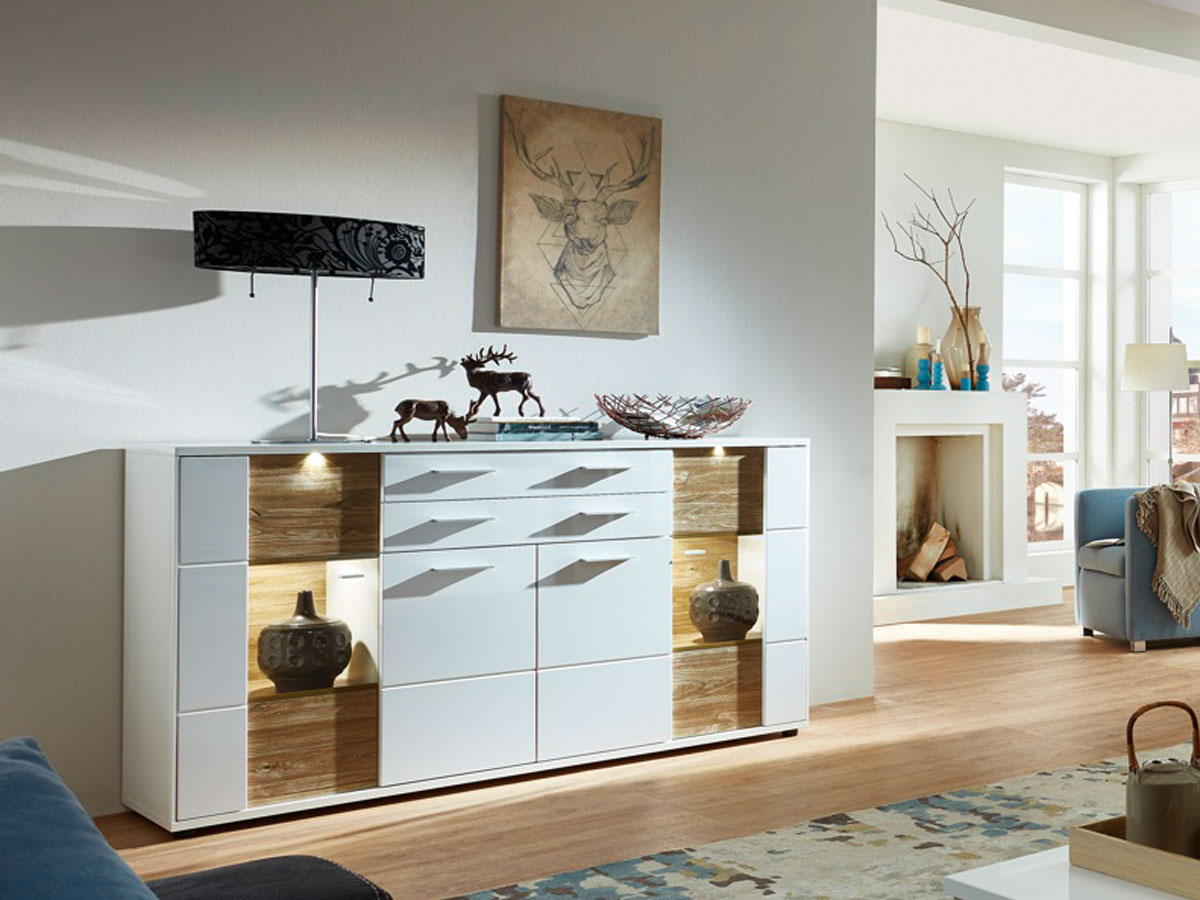 sideboard weiss hochglanz g nstig kaufen. Black Bedroom Furniture Sets. Home Design Ideas