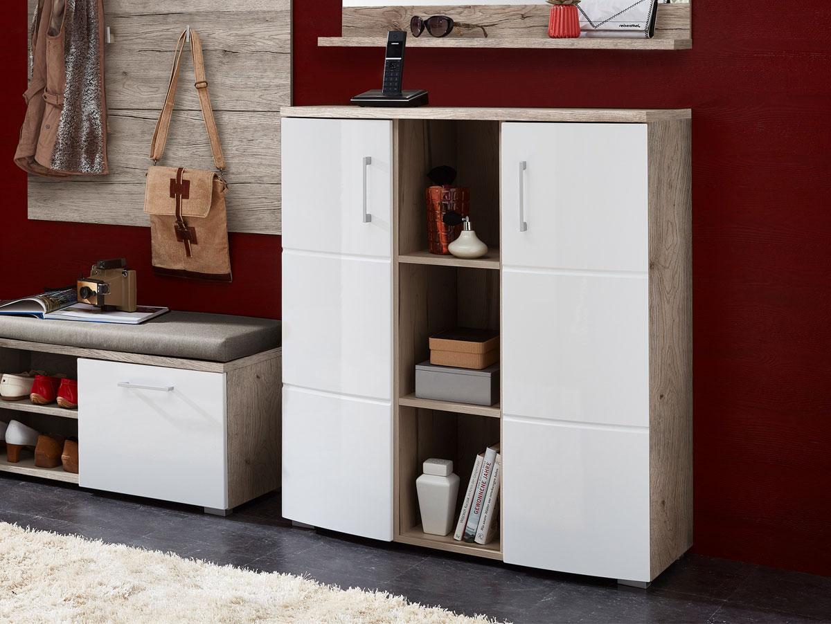 ronny schuhschrank sandeiche wei hochglanz. Black Bedroom Furniture Sets. Home Design Ideas