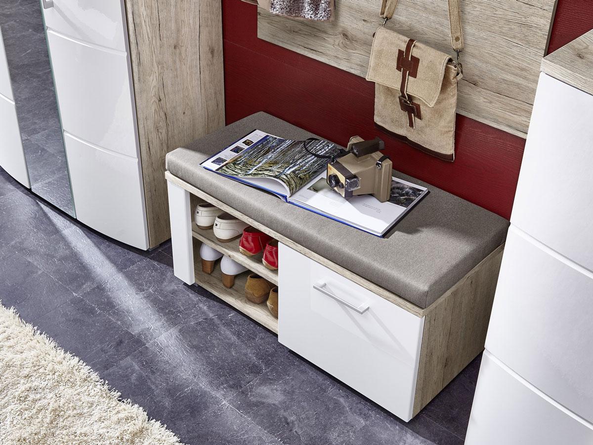 ronny sitzbank inkl kissen sandeiche wei hochglanz. Black Bedroom Furniture Sets. Home Design Ideas
