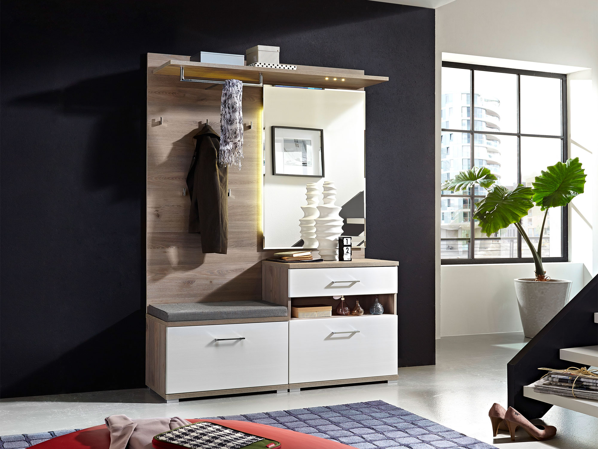 garderobe mit sitzbank weiss g nstig kaufen. Black Bedroom Furniture Sets. Home Design Ideas