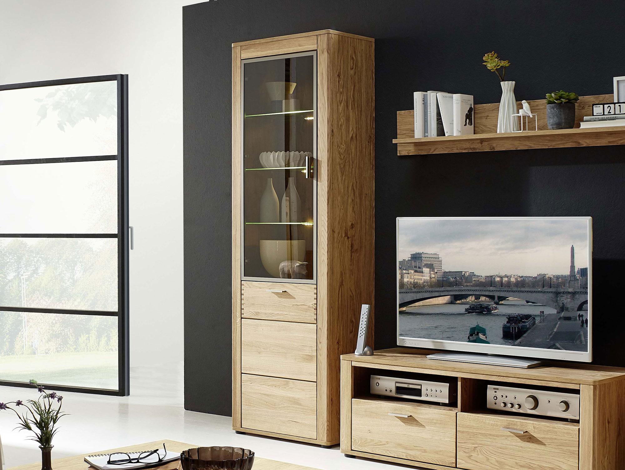 orion vitrine schmal wildeiche teilmassiv. Black Bedroom Furniture Sets. Home Design Ideas