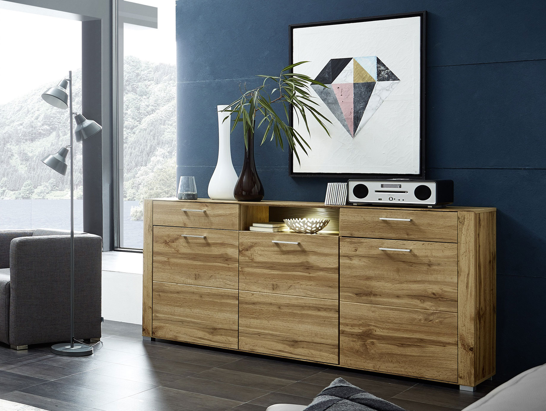 sideboard eiche g nstig kaufen. Black Bedroom Furniture Sets. Home Design Ideas