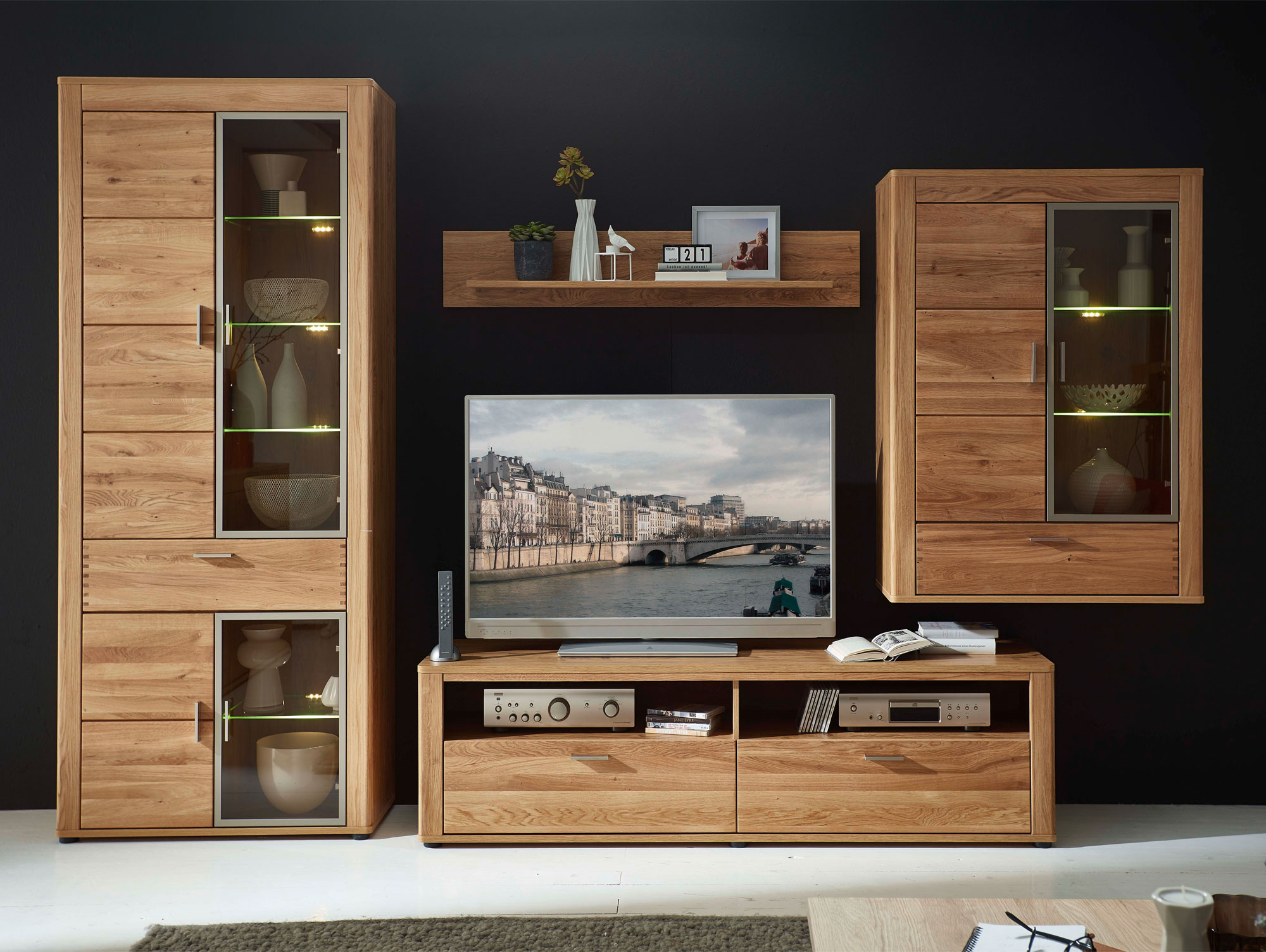 orion ii wohnwand wildeiche teilmassiv. Black Bedroom Furniture Sets. Home Design Ideas