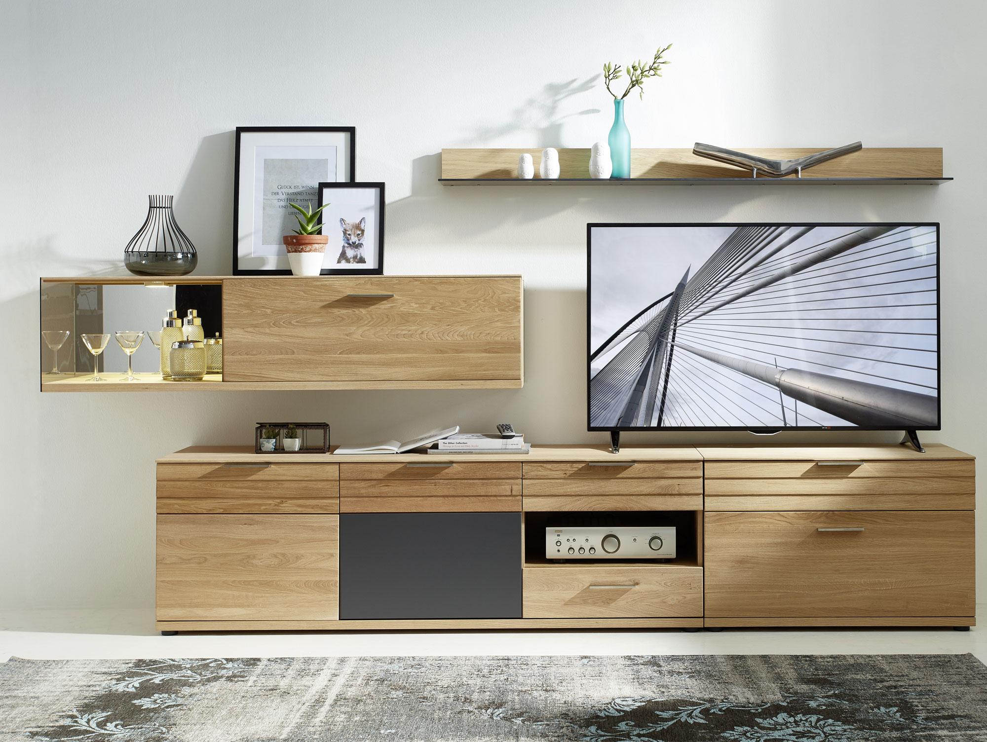 ambar ii wohnwand wildeiche bianco graphit. Black Bedroom Furniture Sets. Home Design Ideas