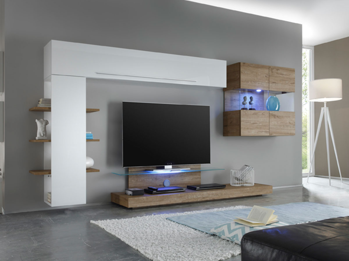 london v wohnwand wei eiche natur. Black Bedroom Furniture Sets. Home Design Ideas