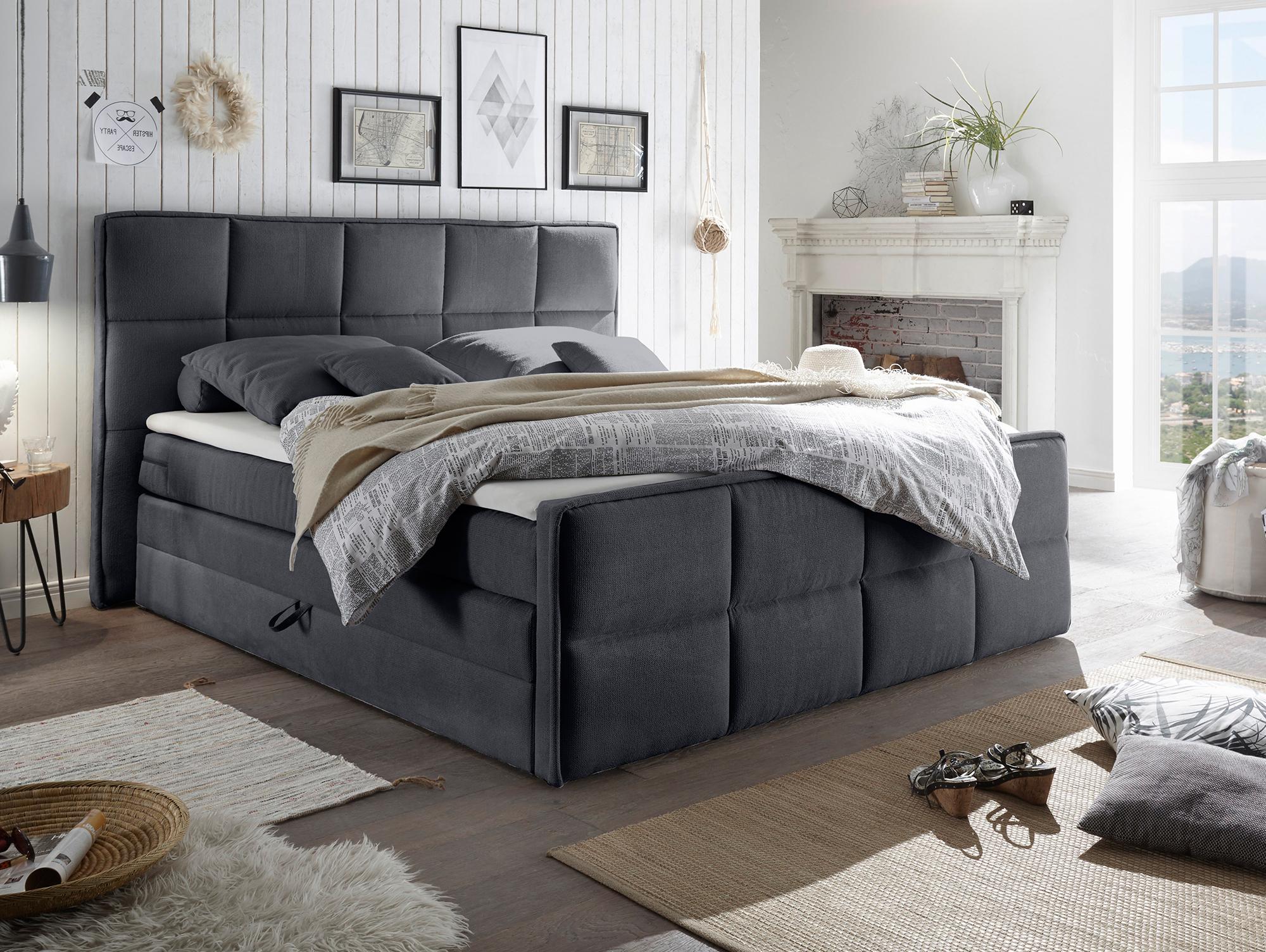alan boxspringbett doppelbett mit bettkasten grau. Black Bedroom Furniture Sets. Home Design Ideas