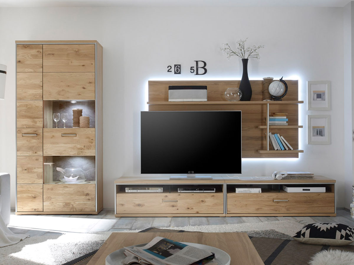 energy iii wohnwand asteiche bianco. Black Bedroom Furniture Sets. Home Design Ideas