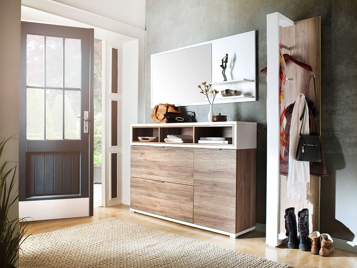 canu ii komplett garderobe eiche rustika weiss. Black Bedroom Furniture Sets. Home Design Ideas