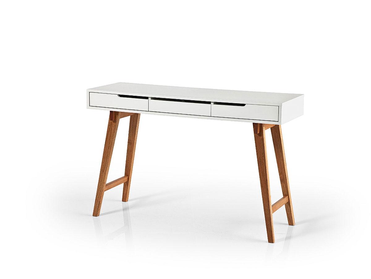 annika schreibtisch konsole weiss lackiert eichefarbig 120 x 78 x 40 cm. Black Bedroom Furniture Sets. Home Design Ideas