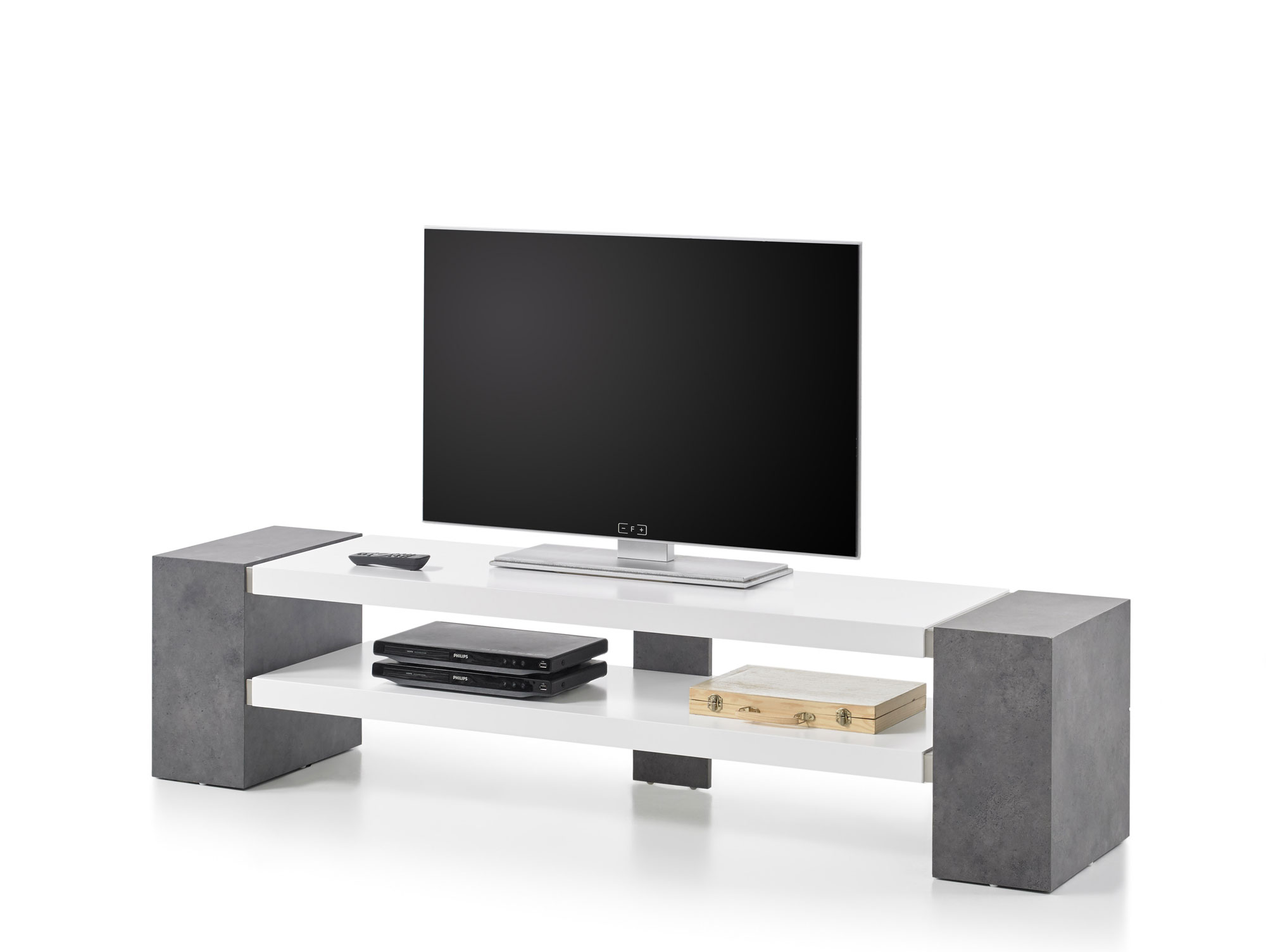 jena tv lowboard weiss beton dekor. Black Bedroom Furniture Sets. Home Design Ideas