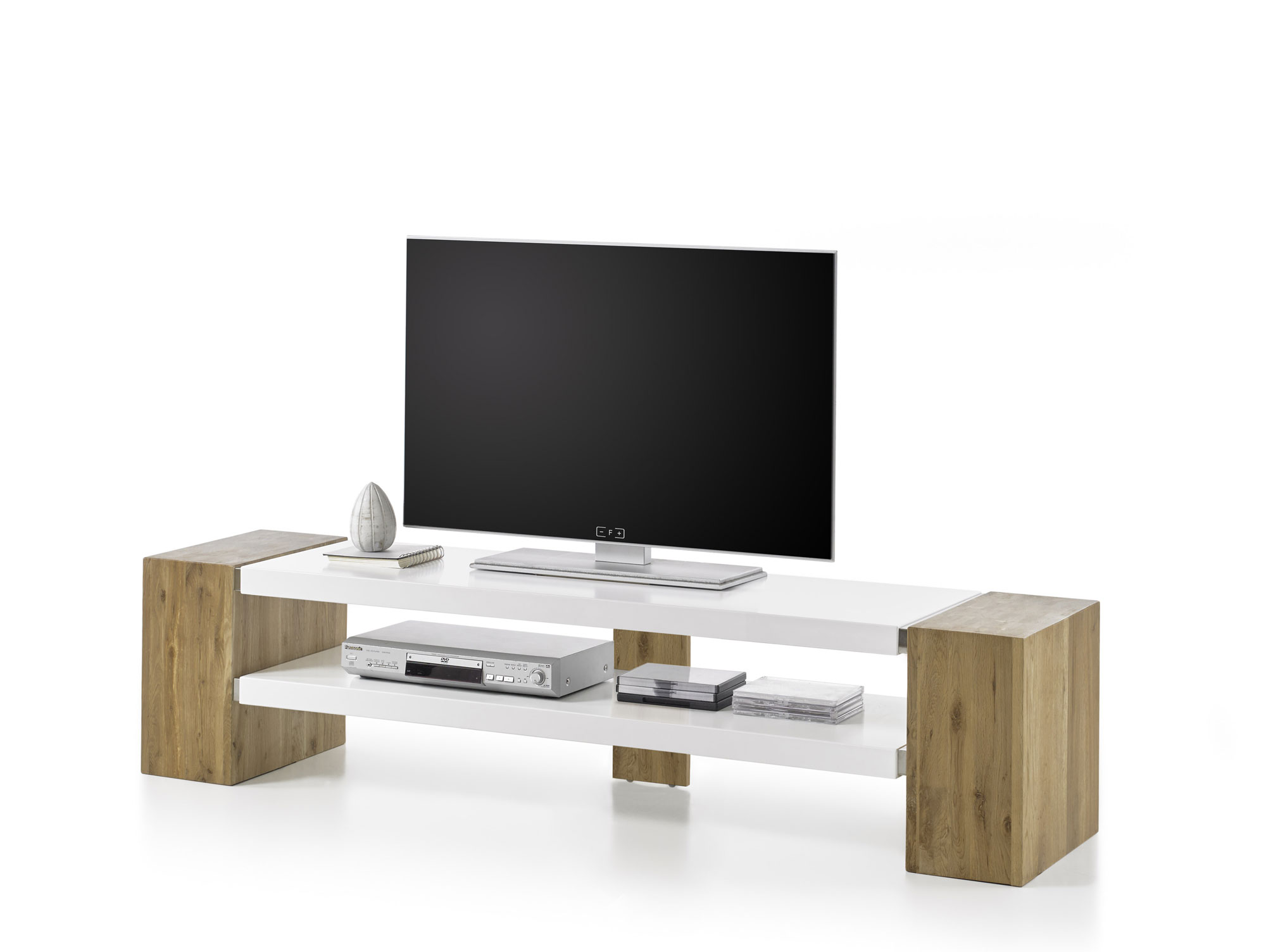 jena tv lowboard weiss asteiche massiv. Black Bedroom Furniture Sets. Home Design Ideas