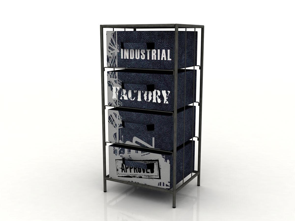 factory regal mit 4 boxen. Black Bedroom Furniture Sets. Home Design Ideas