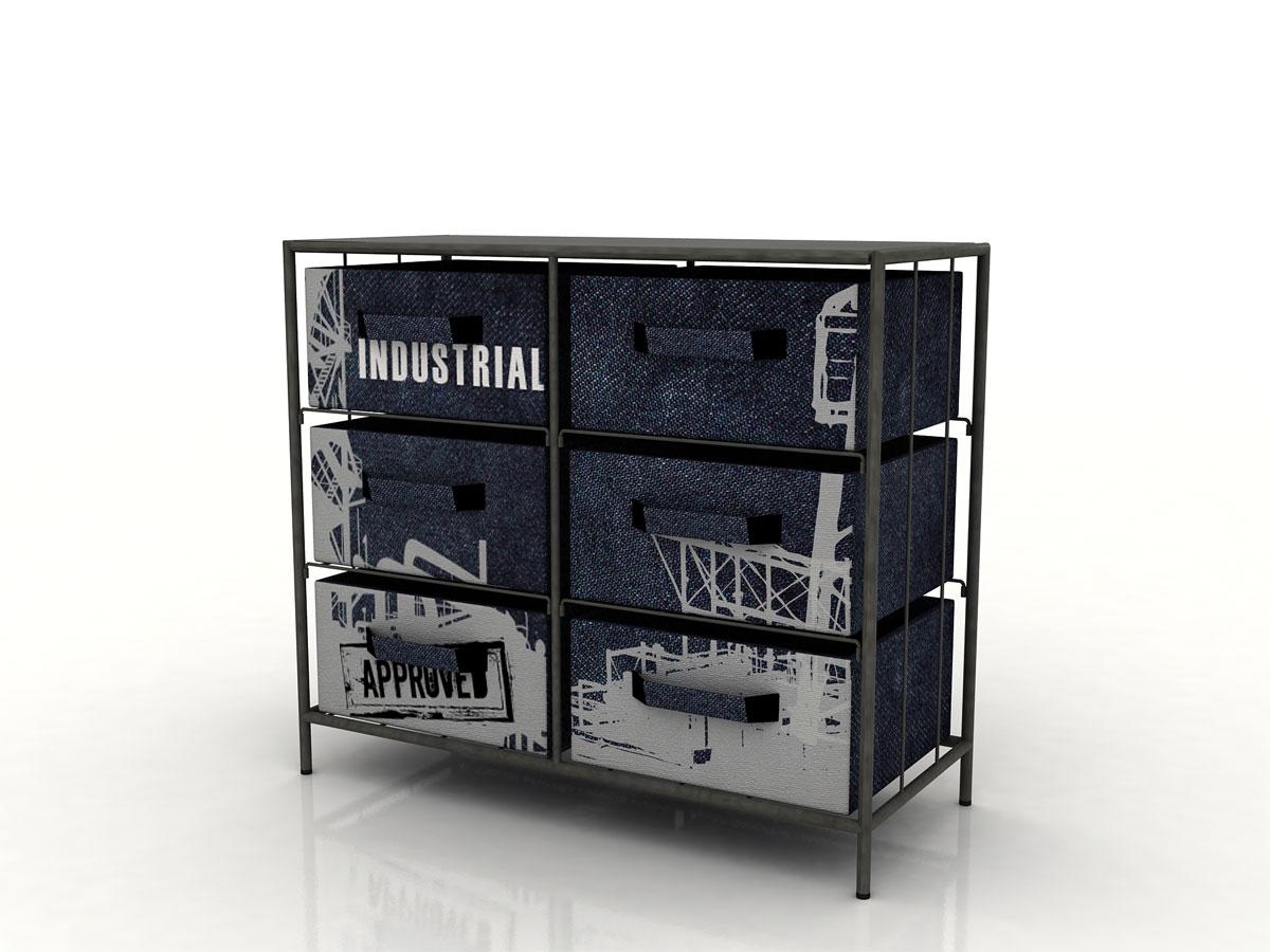 factory regal mit 6 boxen. Black Bedroom Furniture Sets. Home Design Ideas