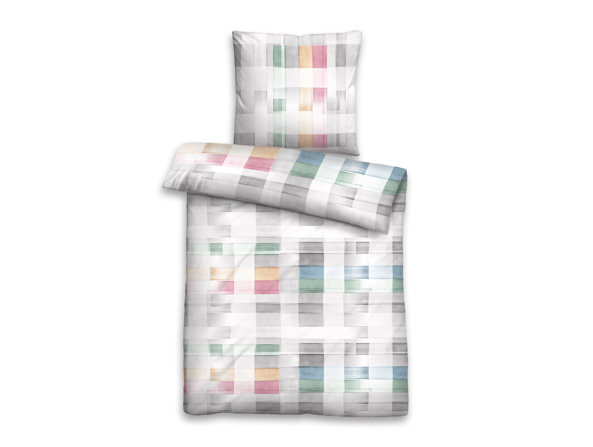 biberna bettw sche mako baumwoll satin 135x200 80x80 cm grau. Black Bedroom Furniture Sets. Home Design Ideas