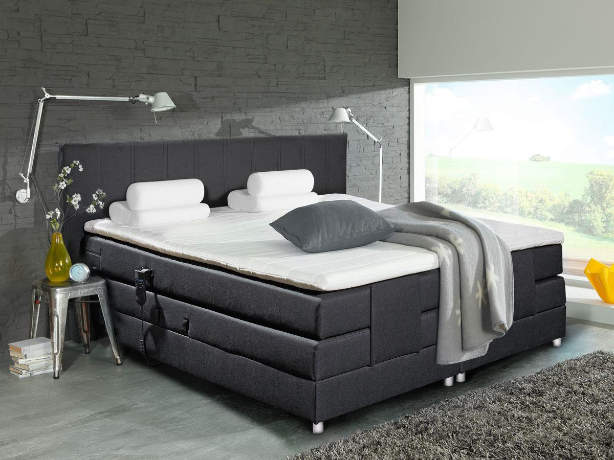 amsterdam boxspringbett doppelbett 180x200 schwarz mit motor. Black Bedroom Furniture Sets. Home Design Ideas
