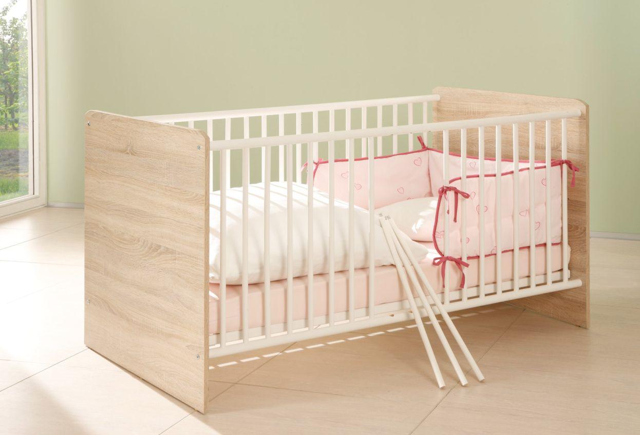 tina babybett sonoma eiche wei. Black Bedroom Furniture Sets. Home Design Ideas