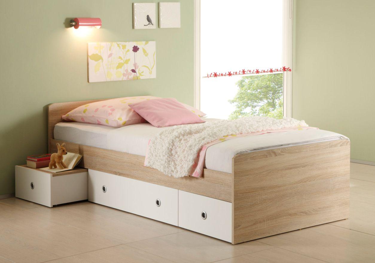 tina jugendbett 90x200 cm sonoma eiche wei. Black Bedroom Furniture Sets. Home Design Ideas