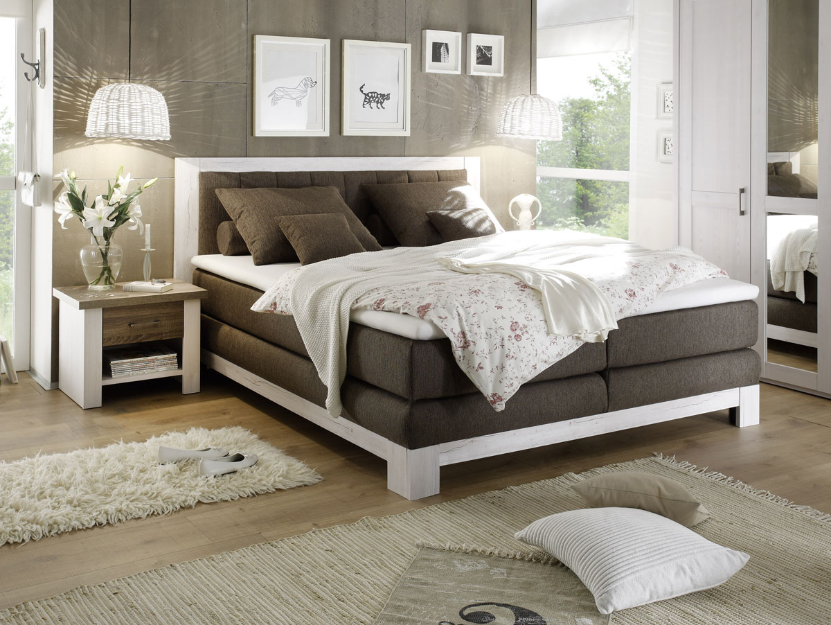 noah i boxspringbett 180x200 cm pinie weiss nachbildung mdf braun. Black Bedroom Furniture Sets. Home Design Ideas