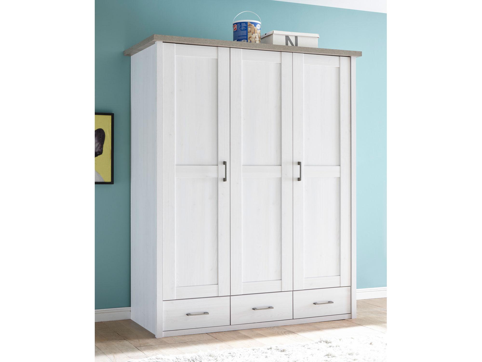 kleiderschrank lucy 3trg pinie wei tr ffel. Black Bedroom Furniture Sets. Home Design Ideas