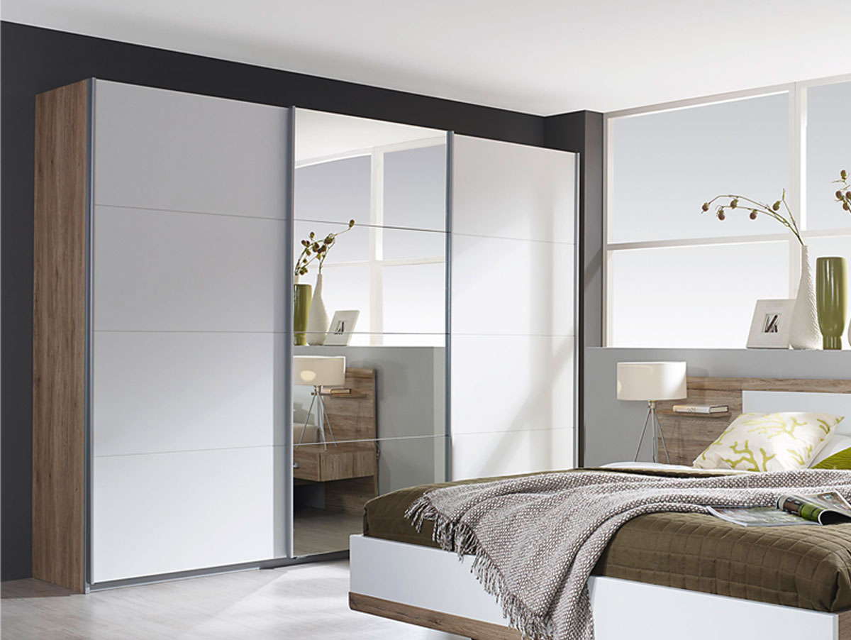 kleiderschrank t rig mit spiegel eiche g nstig kaufen. Black Bedroom Furniture Sets. Home Design Ideas
