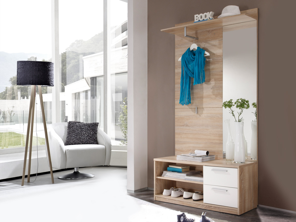 aric kompaktgarderobe eiche sonoma weiss. Black Bedroom Furniture Sets. Home Design Ideas