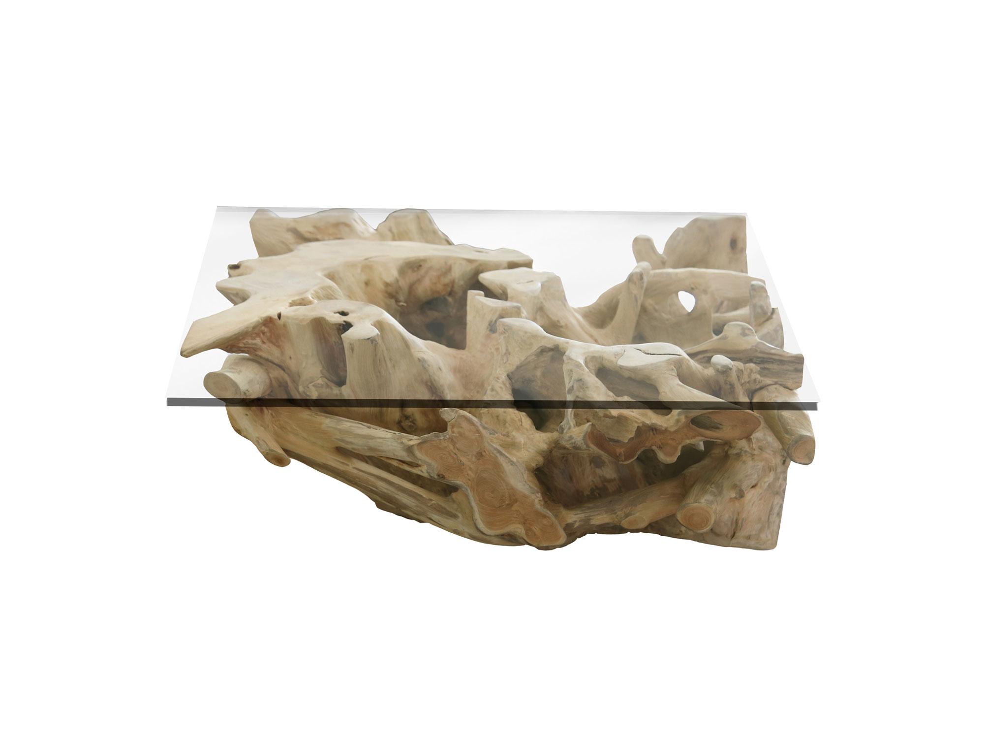 Teakwurzel Couchtisch mit Glasplatte 40×40 cm