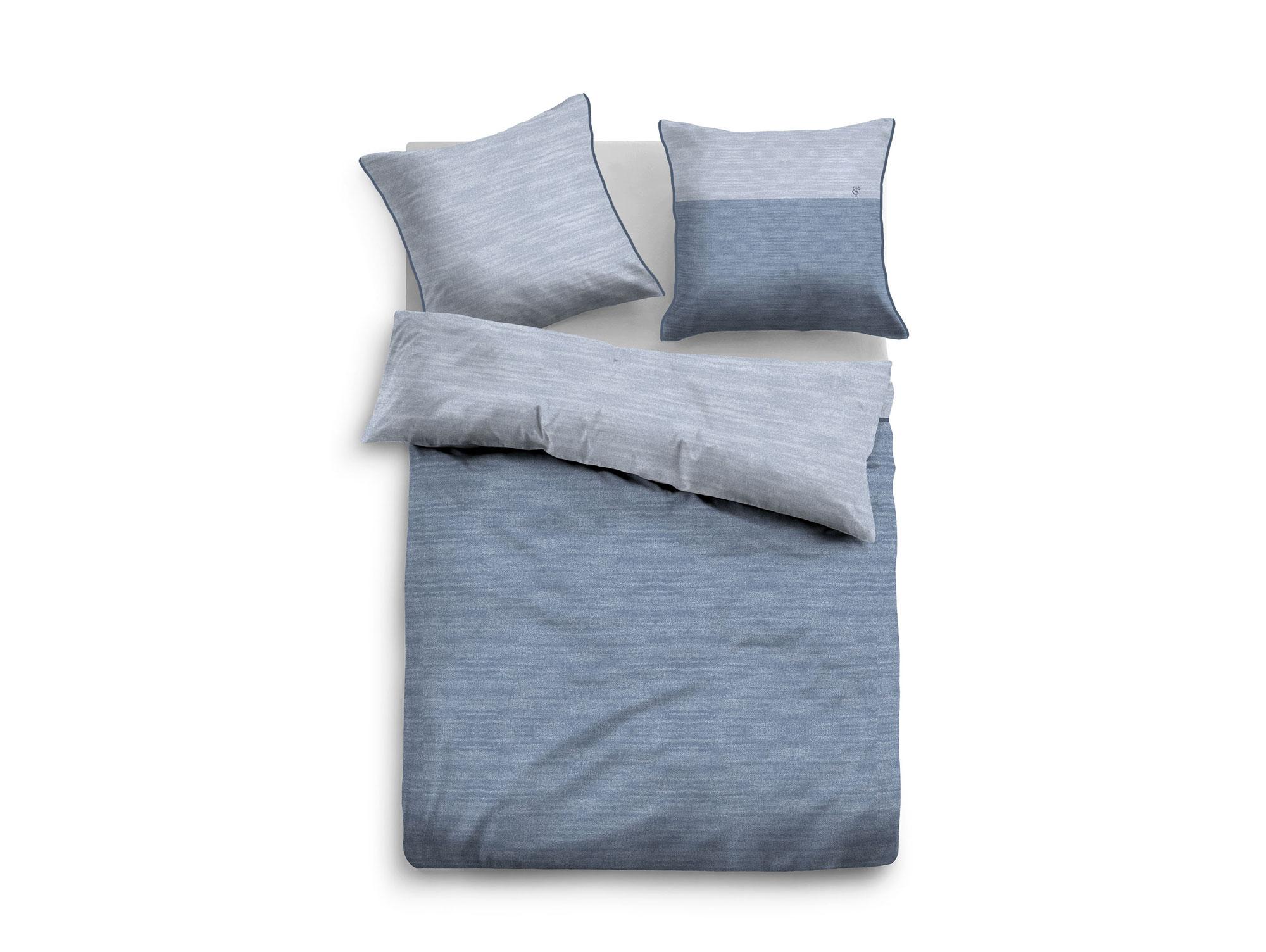 tom tailor bettw sche melange satin blau 135x200 80x80. Black Bedroom Furniture Sets. Home Design Ideas