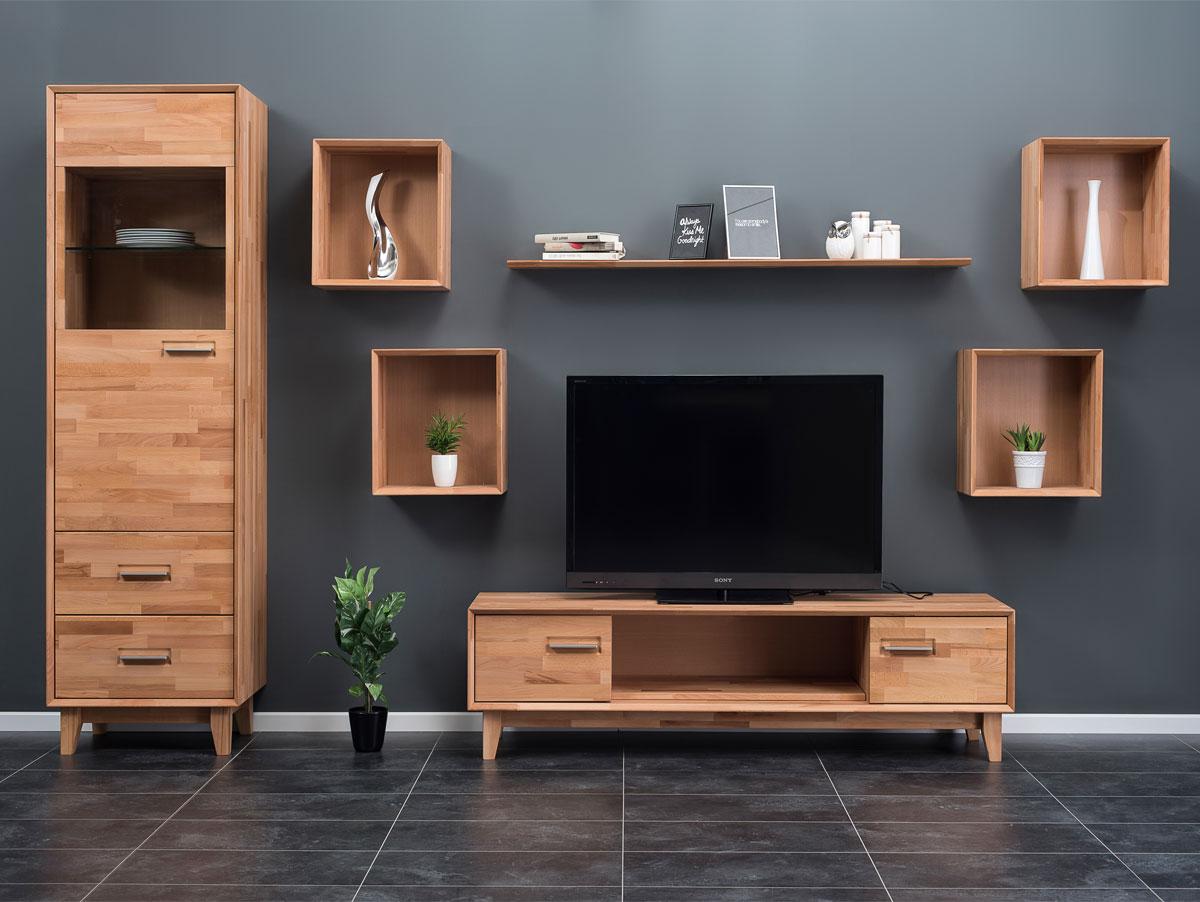 nepal ii wohnwand massivholz ge lt kernbuche. Black Bedroom Furniture Sets. Home Design Ideas