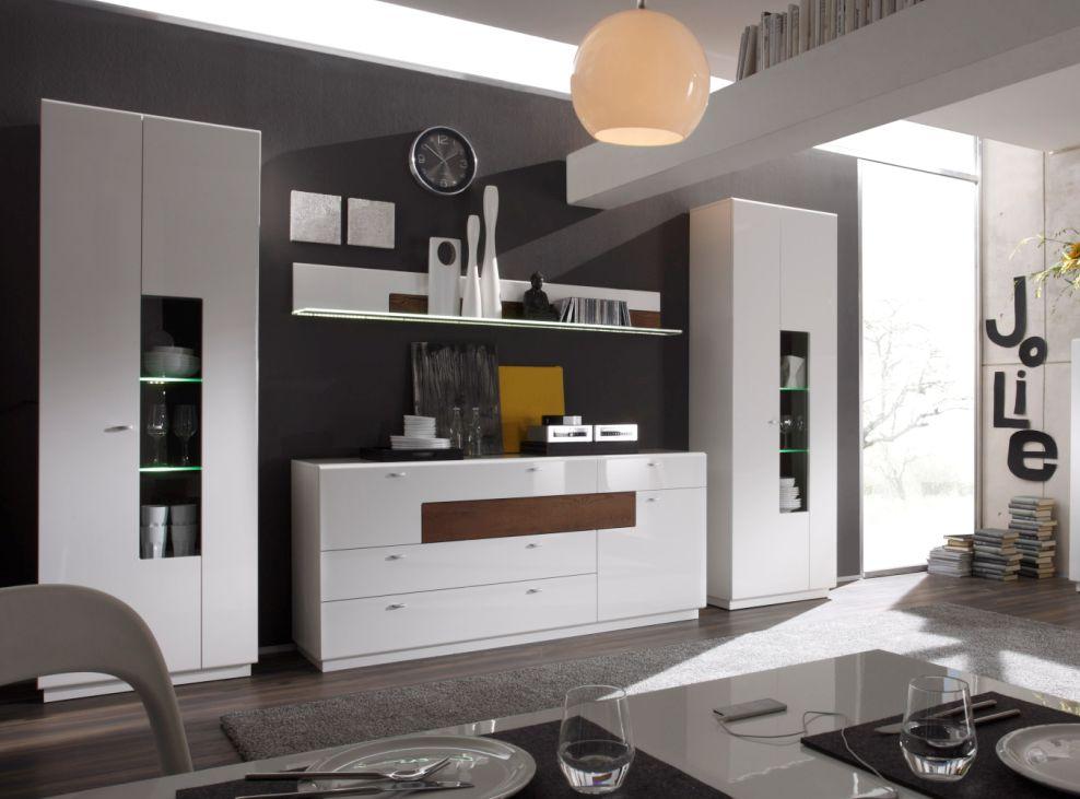 wohnwand mit sideboard weiss hochglanz g nstig kaufen. Black Bedroom Furniture Sets. Home Design Ideas