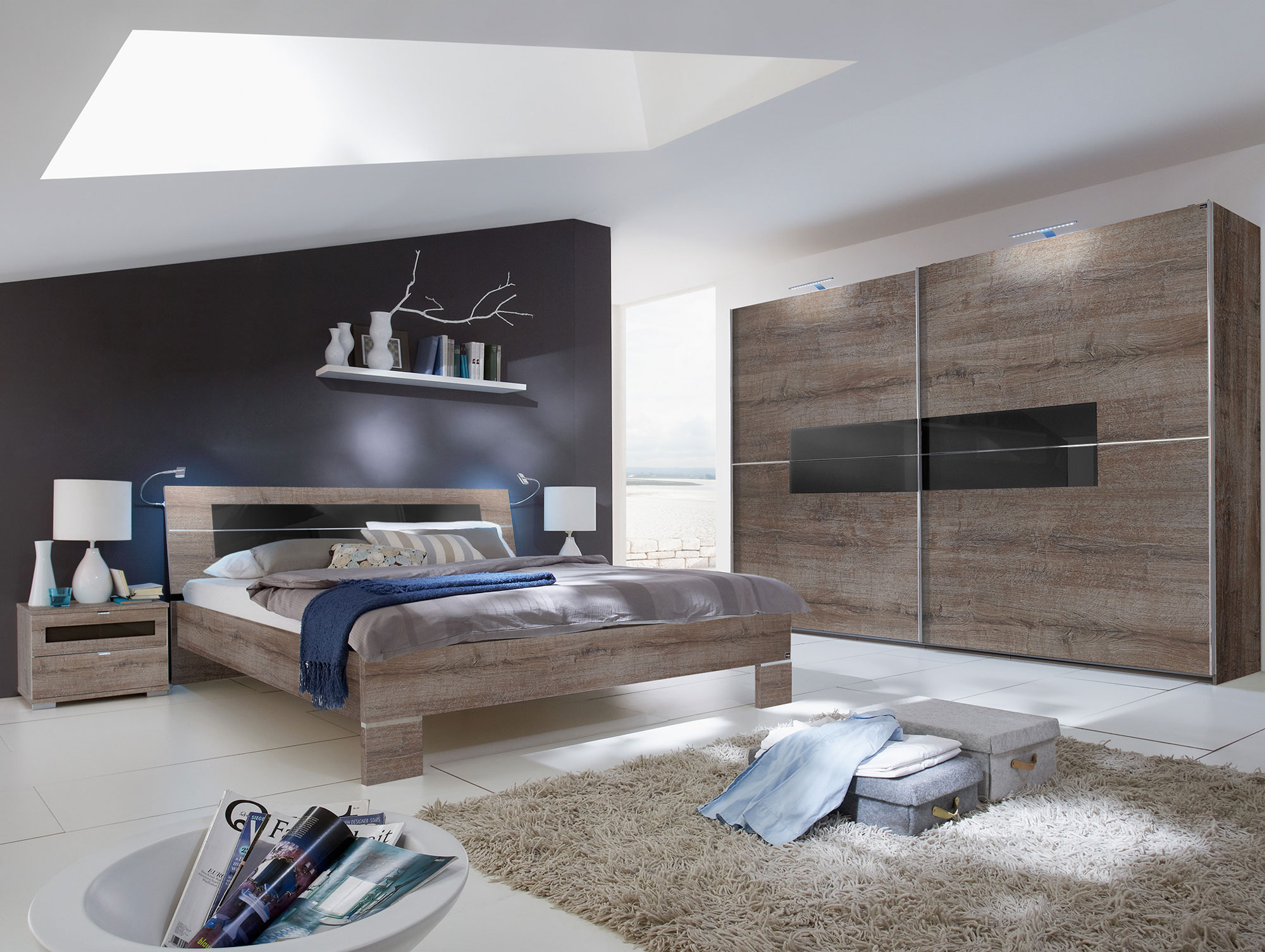 alina schlafzimmer 4 teilig 200 cm 160 x 200 cm schlammeiche glas schwarz. Black Bedroom Furniture Sets. Home Design Ideas