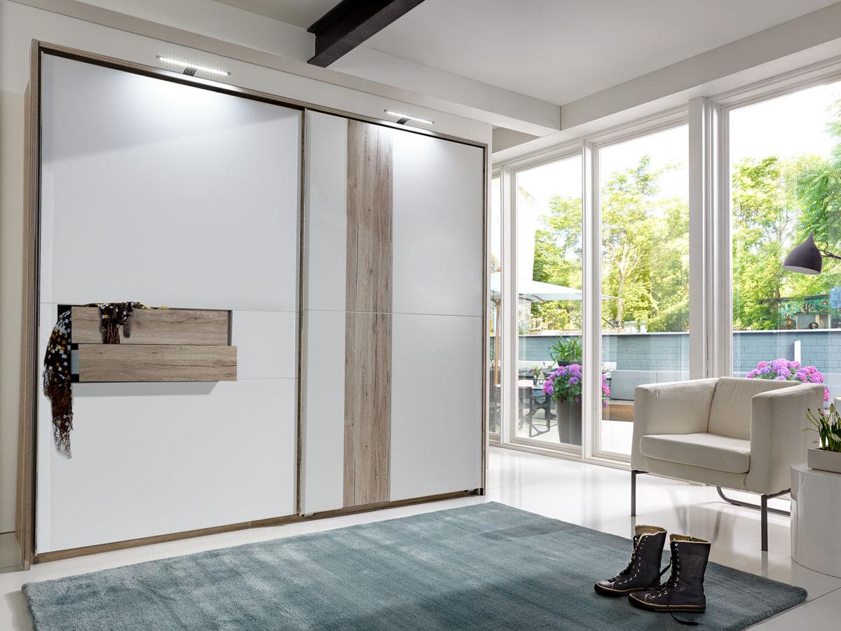 diva ii schwebet renschrank mit 2 schubk sten 250 cm sanremo eiche weiss. Black Bedroom Furniture Sets. Home Design Ideas