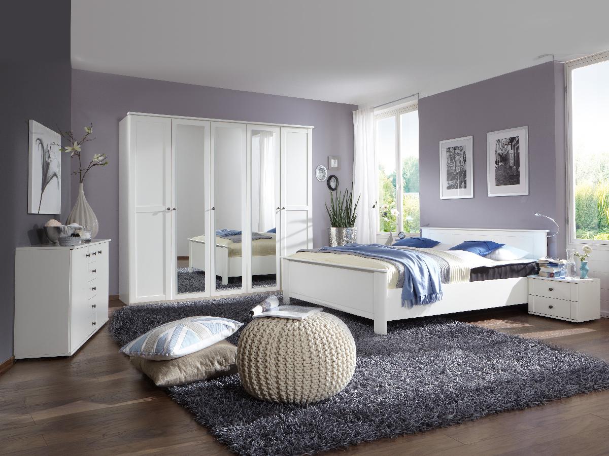 cabella komplett schlafzimmer weiss 180 cm 4 t rig. Black Bedroom Furniture Sets. Home Design Ideas