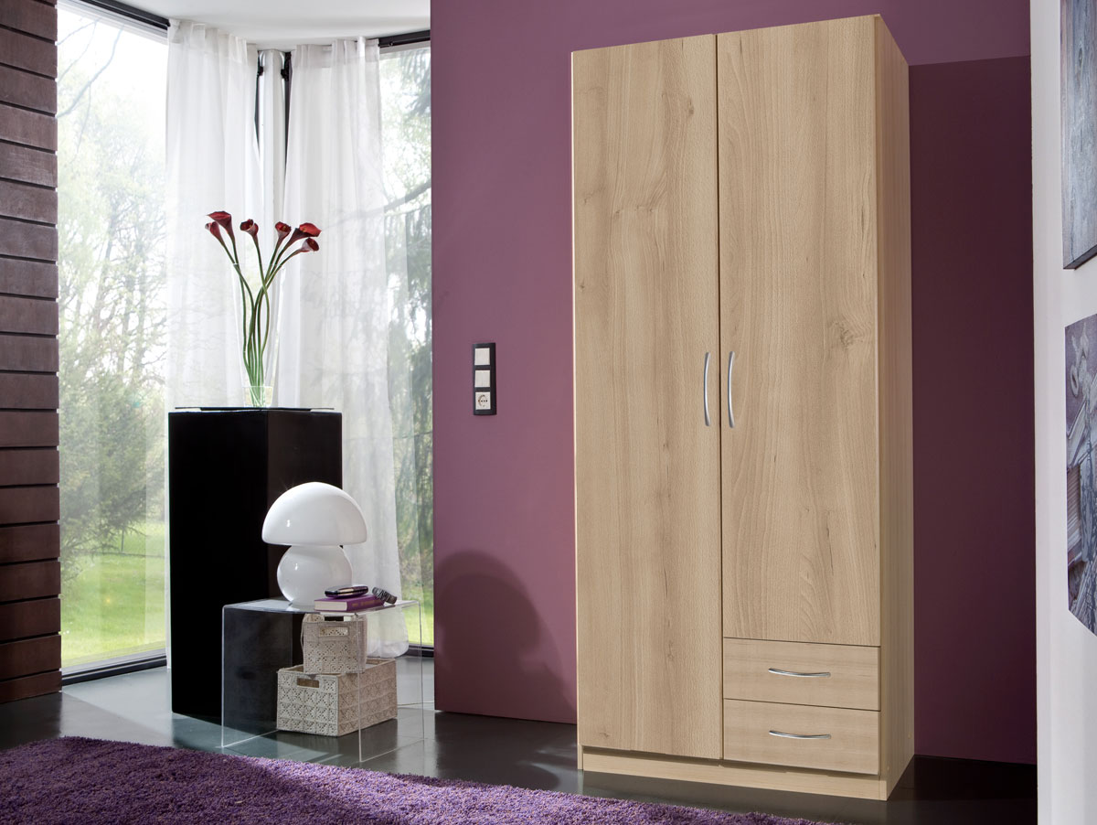 swen kleiderschrank 2 t rig mit schubk sten edelbuche dekor. Black Bedroom Furniture Sets. Home Design Ideas