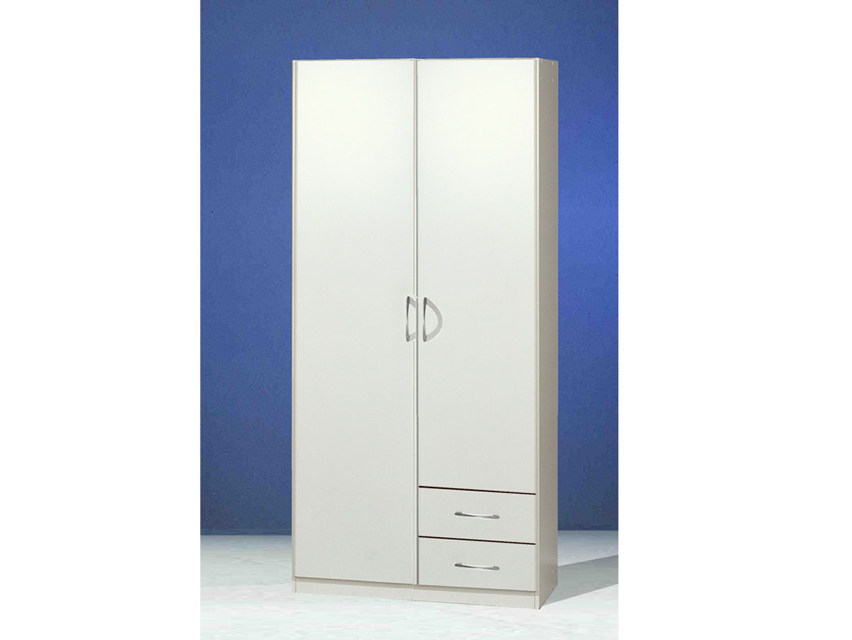 swen kleiderschrank 2 t rig mit schubk sten weiss. Black Bedroom Furniture Sets. Home Design Ideas
