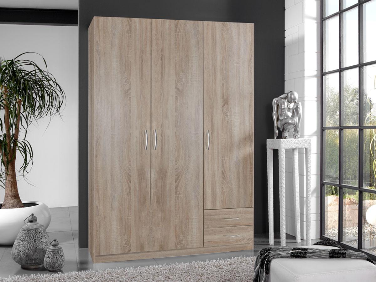 swen kleiderschrank 3 t rig eiche s gerau dekor 198 cm. Black Bedroom Furniture Sets. Home Design Ideas