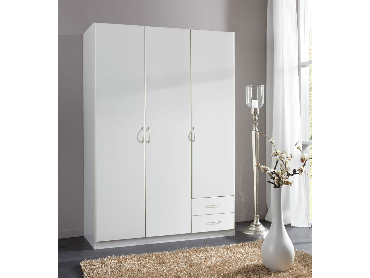 swen kleiderschrank 3 t rig weiss 198 cm. Black Bedroom Furniture Sets. Home Design Ideas