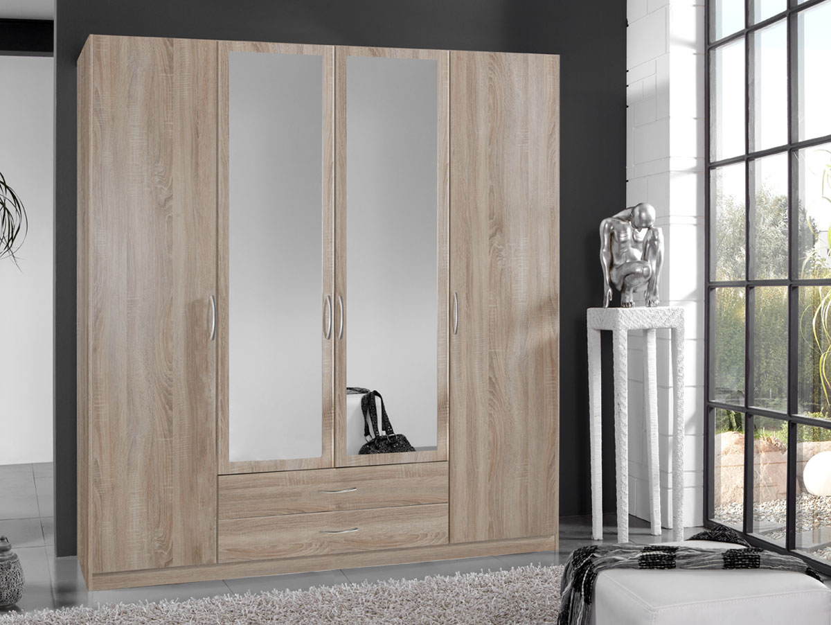 swen kleiderschrank mit spiegel 180 cm 4 t rig eiche s gerau. Black Bedroom Furniture Sets. Home Design Ideas
