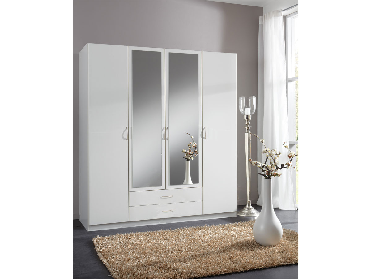 swen kleiderschrank mit spiegel 180 cm 4 t rig weiss. Black Bedroom Furniture Sets. Home Design Ideas