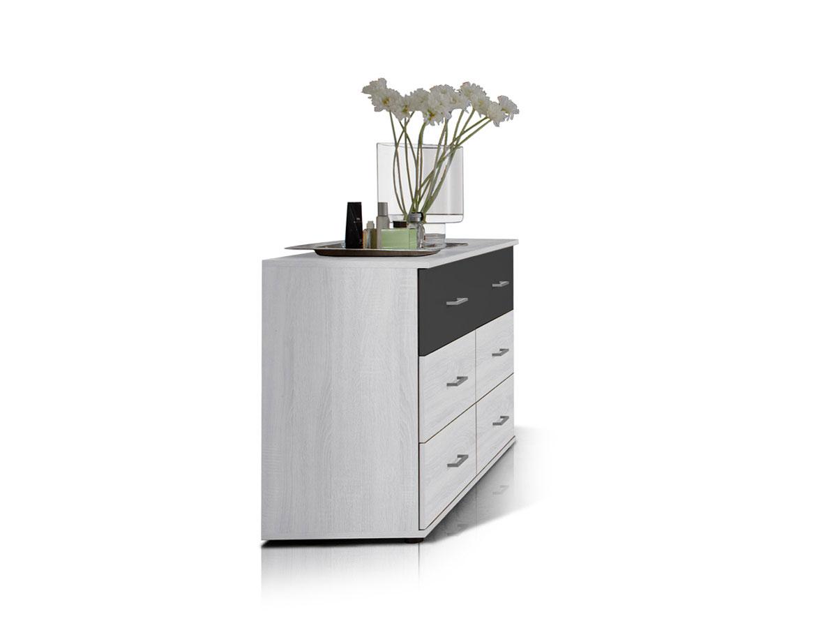 flores schubkastenkommode wei eiche anthrazit. Black Bedroom Furniture Sets. Home Design Ideas