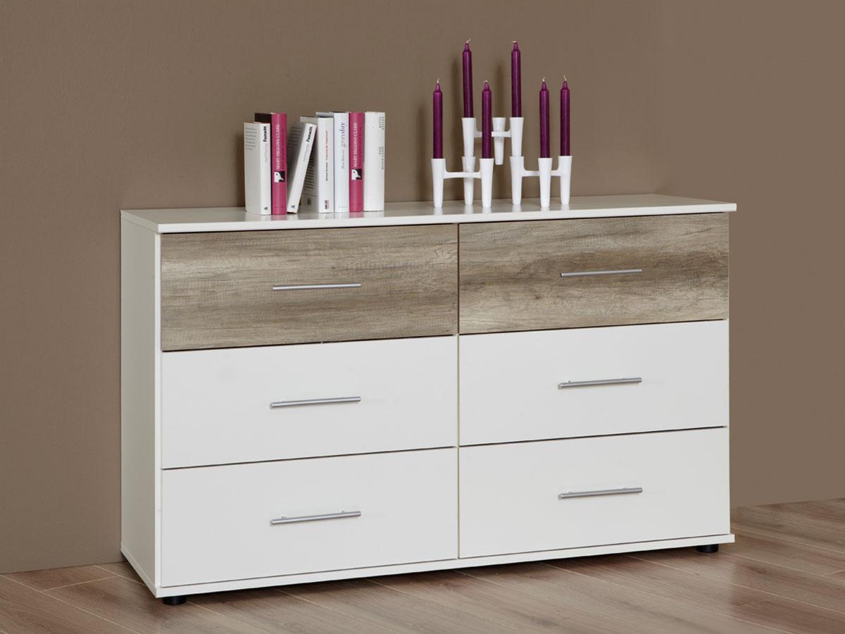 flores schubkastenkommode weiss sanremo eiche. Black Bedroom Furniture Sets. Home Design Ideas