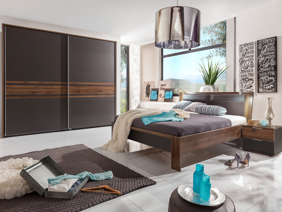 famous schlafzimmer 4 teilig lavagrau nussbaum. Black Bedroom Furniture Sets. Home Design Ideas