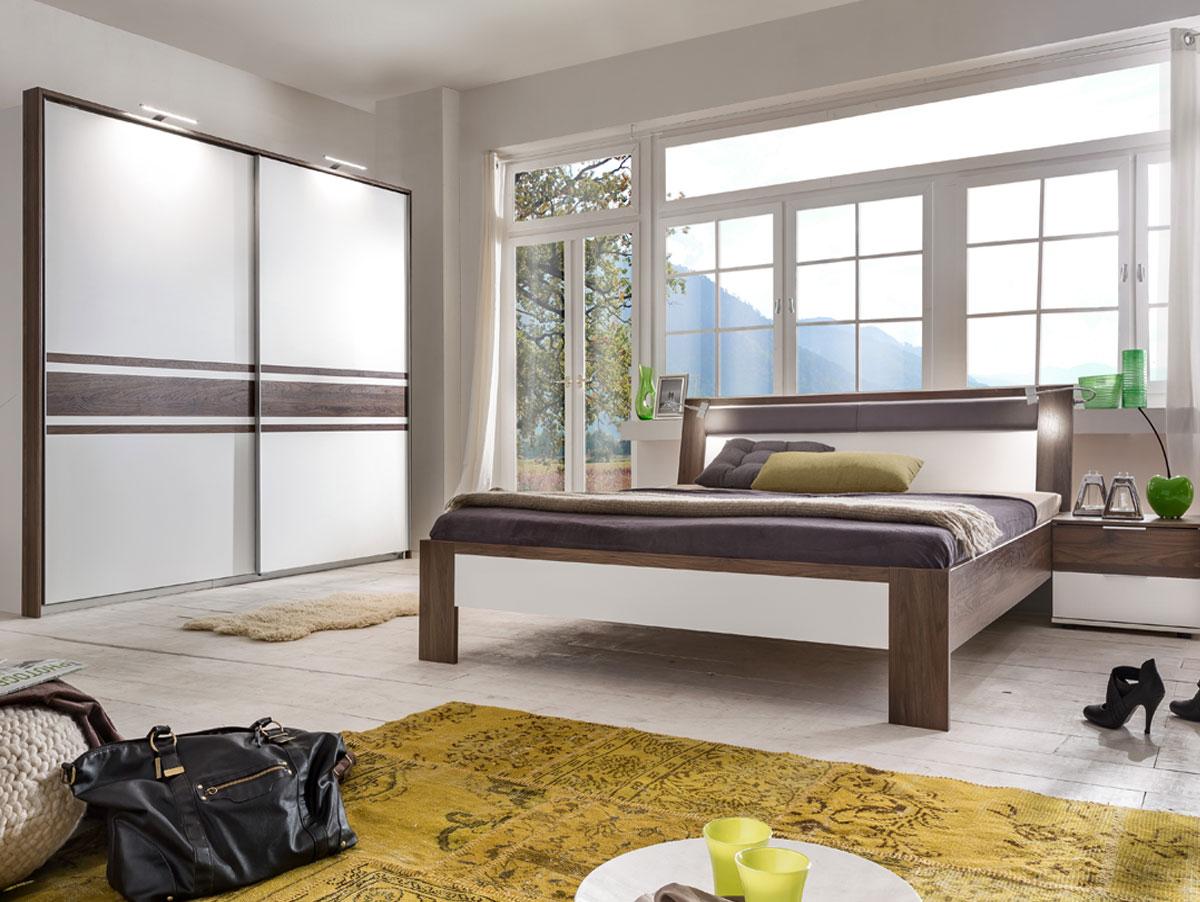 famous schlafzimmer 4 teilig weiss nussbaum. Black Bedroom Furniture Sets. Home Design Ideas
