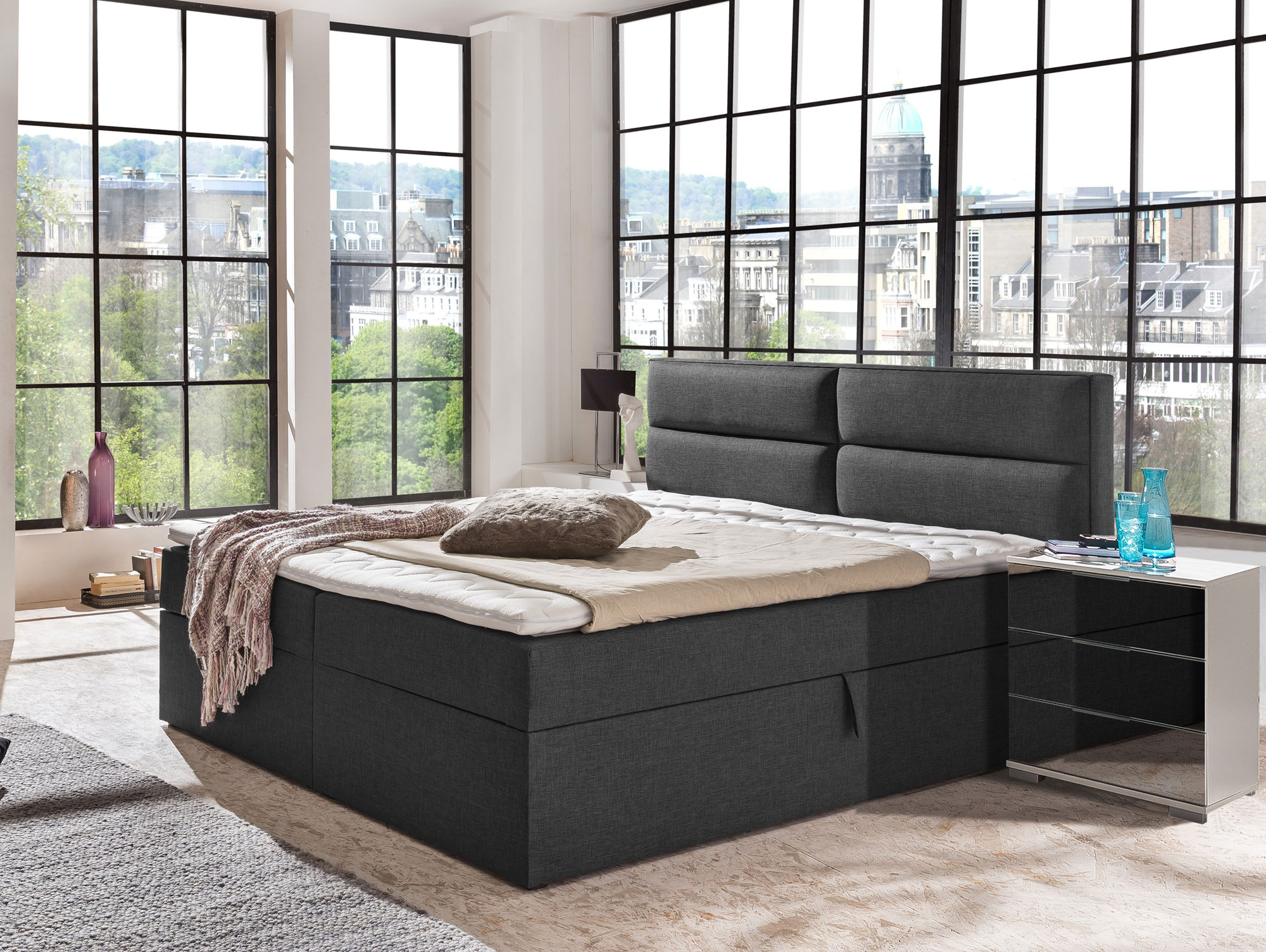 miami boxspringbett 180x200 cm anthrazit stoff savanna. Black Bedroom Furniture Sets. Home Design Ideas